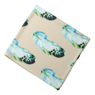 Trendy Bohemian Watercolor Blue Teal Feathers Bandana