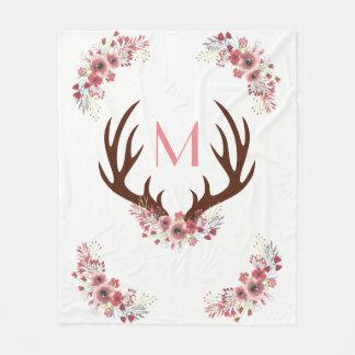 Trendy Bohemian Watercolor Flowers Deer Antlers Fleece Blanket