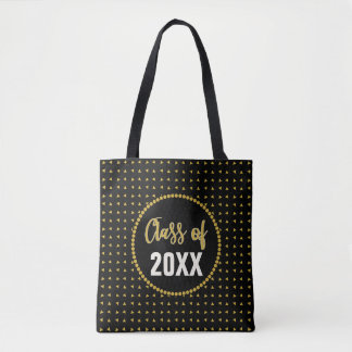Trendy Bold Black Gold Graduation Class Reunion Tote Bag