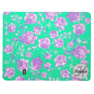 Trendy Bright Blue Teal & Purple  Floral Monogram Journals
