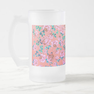 Trendy Bright Girly Pink Vintage Floral Monogram Frosted Glass Beer Mug
