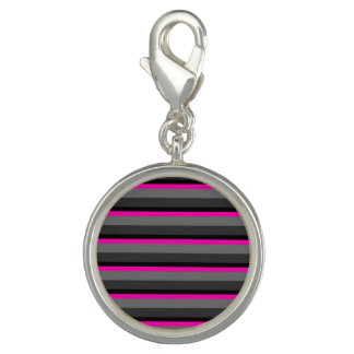 trendy bright neon pink black and grey striped