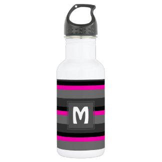 trendy bright neon pink black and grey striped 532 ml water bottle