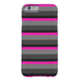 trendy bright neon pink black and grey striped barely there iPhone 6 case