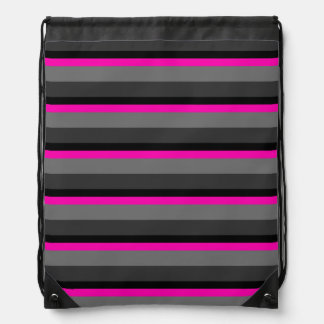 trendy bright neon pink black and grey striped drawstring bag