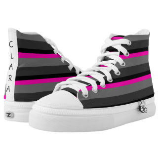 trendy bright neon pink black and grey striped high tops