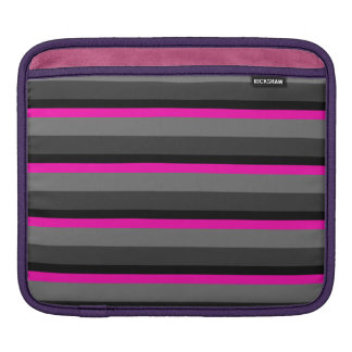 trendy bright neon pink black and grey striped iPad sleeve