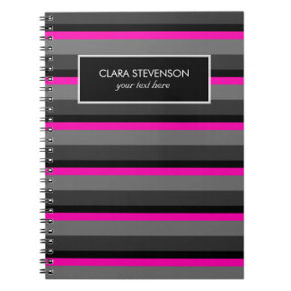 trendy bright neon pink black and grey striped notebooks