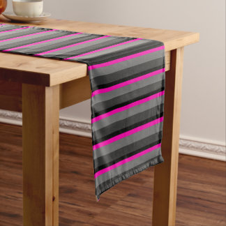 trendy bright neon pink black and grey striped short table runner