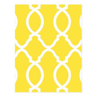 Trendy Bright Yellow Geometric Moroccan Postcard