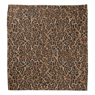 Trendy Brown Exotic Fur Pattern Leopard Print Kerchiefs