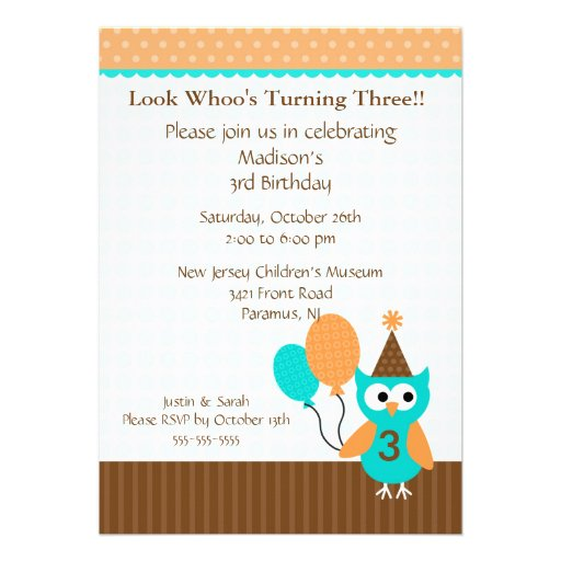 Trendy Brown Party Owl Birthday Invitation
