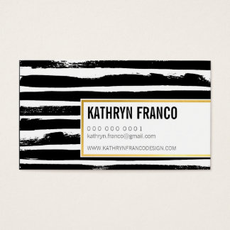TRENDY BRUSH STROKE bold cute painted black gold Business Card