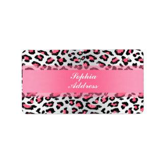 trendy bubble gum pink leopard animal print address label