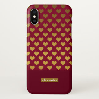 Trendy Burgundy and Gold Hearts iPhone X Case