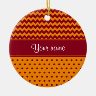 Trendy Burgundy Chevrons Tangerine Polka Dots Ceramic Ornament