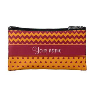 Trendy Burgundy Chevrons Tangerine Polka Dots Cosmetic Bag