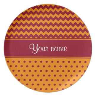 Trendy Burgundy Chevrons Tangerine Polka Dots Dinner Plates