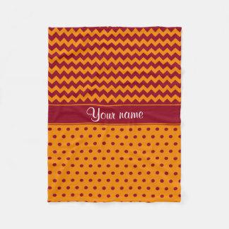 Trendy Burgundy Chevrons Tangerine Polka Dots Fleece Blanket