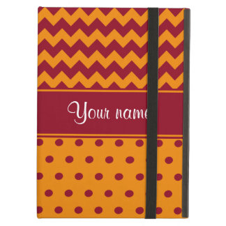Trendy Burgundy Chevrons Tangerine Polka Dots iPad Air Cover