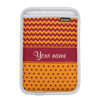 Trendy Burgundy Chevrons Tangerine Polka Dots iPad Mini Sleeves