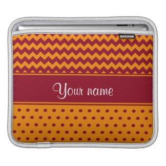 Trendy Burgundy Chevrons Tangerine Polka Dots iPad Sleeve
