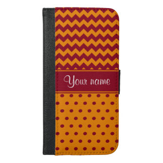 Trendy Burgundy Chevrons Tangerine Polka Dots iPhone 6/6s Plus Wallet Case