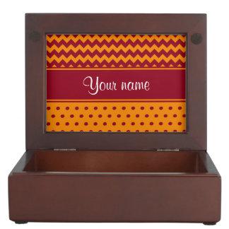 Trendy Burgundy Chevrons Tangerine Polka Dots Keepsake Boxes