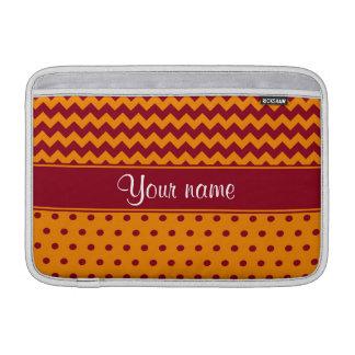 Trendy Burgundy Chevrons Tangerine Polka Dots MacBook Sleeve
