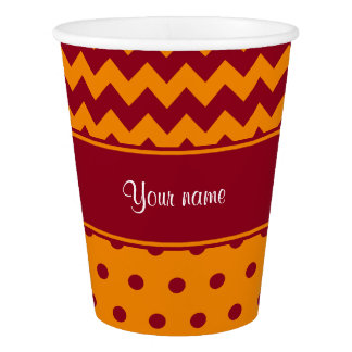 Trendy Burgundy Chevrons Tangerine Polka Dots Paper Cup