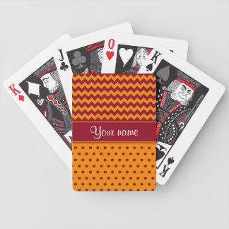 Trendy Burgundy Chevrons Tangerine Polka Dots Poker Deck
