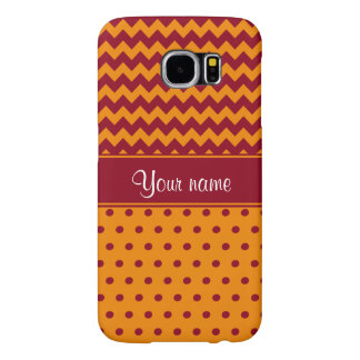Trendy Burgundy Chevrons Tangerine Polka Dots Samsung Galaxy S6 Cases