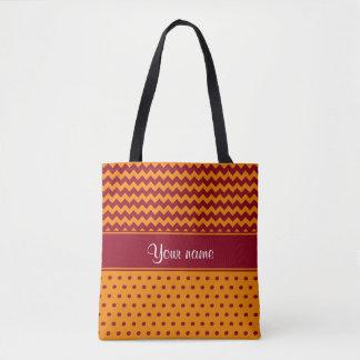 Trendy Burgundy Chevrons Tangerine Polka Dots Tote Bag