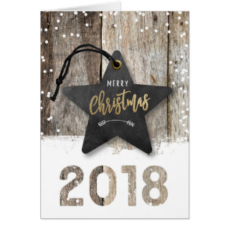 Trendy Business Christmas Card 2018 Star Wood Snow