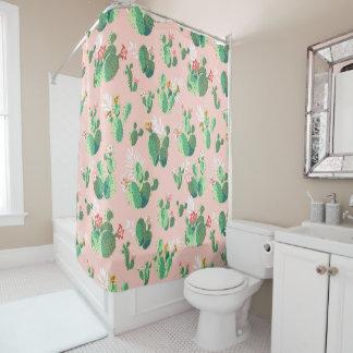 Trendy cactus succulent plant floral watercolor shower curtain