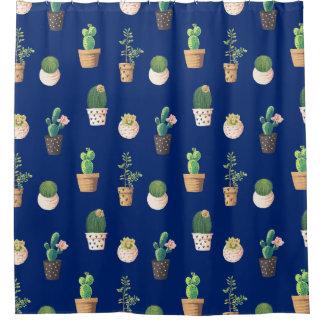 Trendy cactus succulent plant kawaii watercolor shower curtain