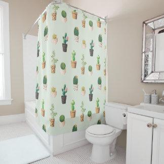 Trendy cactus succulent plant mint watercolor shower curtain