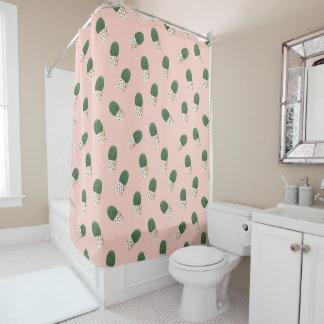 Trendy cactus succulent plant pink watercolor shower curtain