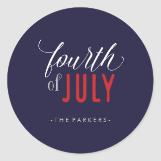Trendy Calligraphy Red White and Blue 4th of July Classic Round Sticker