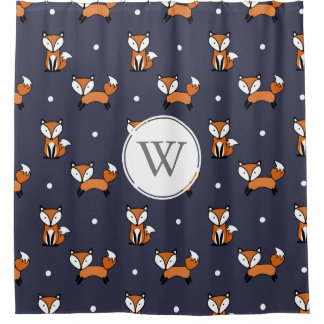 Trendy Cartoon Foxes Polka Dots Personalized Shower Curtain