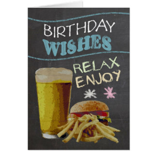 Trendy Chalk Board Effect, With Beer, Burger Card