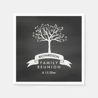 Trendy Chalkboard Look with Tree Family Reunion Disposable Serviette