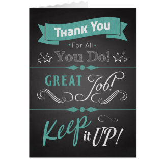 Trendy Chalkboard Thank You Card in Appreciation