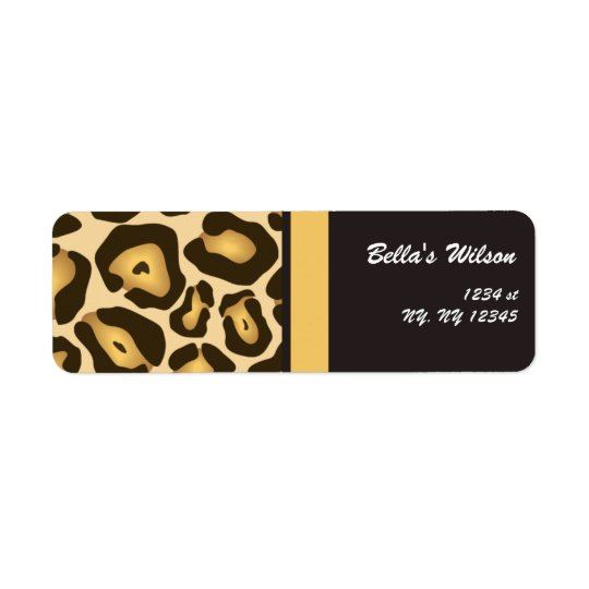 trendy cheetah Return address label