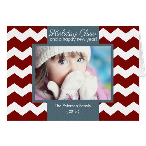 Trendy Chevron Holiday Cheer Folded Christmas Card