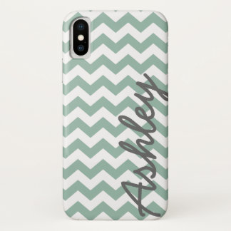Trendy Chevron Pattern with name - mint gray iPhone X Case