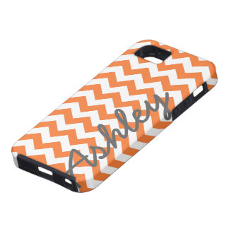 Trendy Chevron Pattern with name - orange gray iPhone 5 Covers