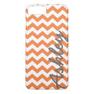 Trendy Chevron Pattern with name - orange gray iPhone 7 Plus Case