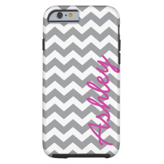 Trendy Chevron Pattern with name - pink gray Tough iPhone 6 Case