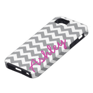 Trendy Chevron Pattern with name - pink grey